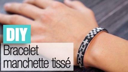 Faire un bracelet manchette tissé en perles - DIY bijoux