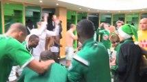 La joie des Verts après la victoire face à Evian TG