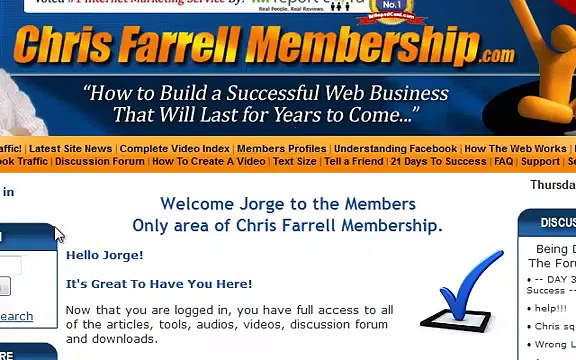Learn affiliate marketing with Chris Farrell Membership