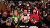 One Direction get festive singing Santa Claus Is Coming to Town, playing toy instruments, with Jimmy Fallon!