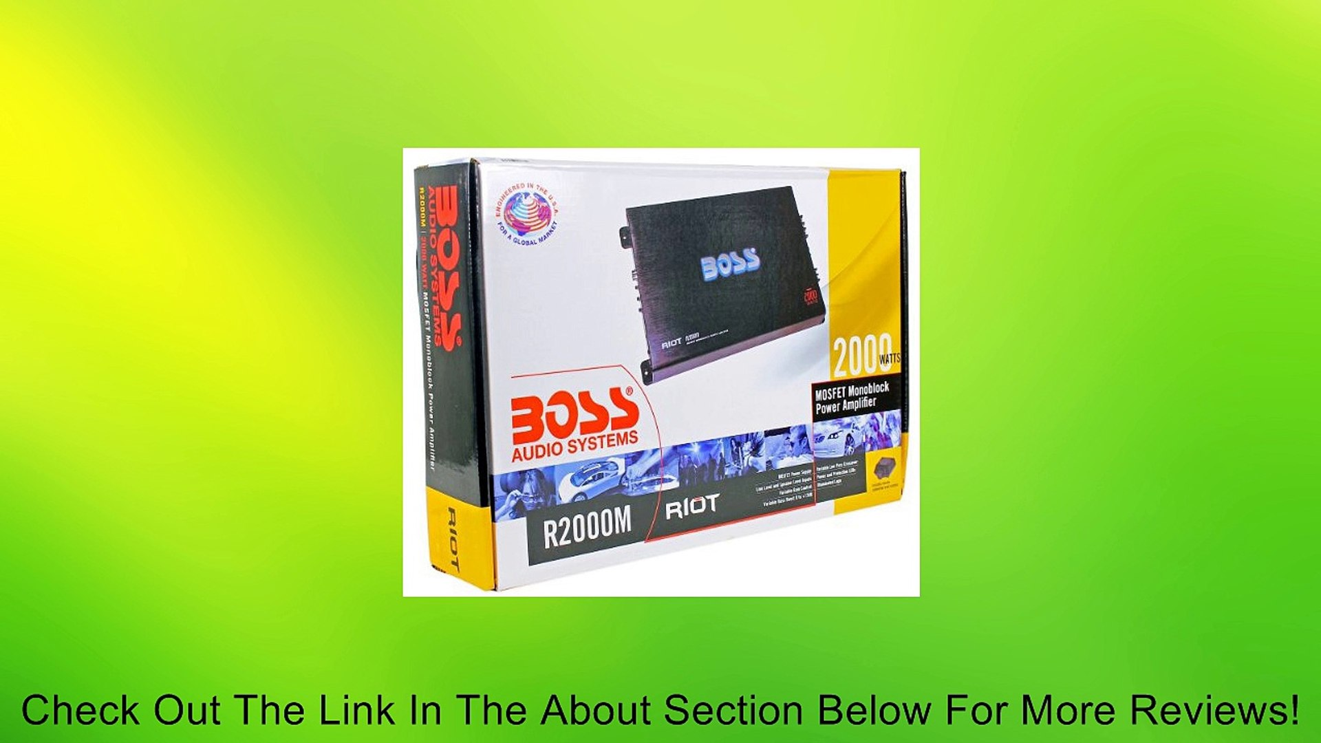 Boss Audio Armor R2000M 2000 Watt Mono Class A/B MOSFET Power Amplifier With Included Remote Subwoof
