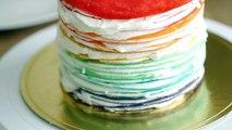 How to Make Rainbow Cake - Christmas Cake Mille Crêpes 노오븐 크리스마스 케이크 만들기 - 크레이프 케익 선물 - 한글 자막