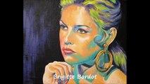 Portrait peinture acrylique brigitte bardot par l'artiste Olivier Boutin Art Style
