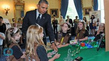 President Obama Breaks His Own Rule and Wears a Sparkly Tiara for Girl Scouts Photo
