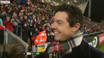 Golf champion Rory McIlroy gets trolled by stadium playing 'Sweet Caroline' during interview