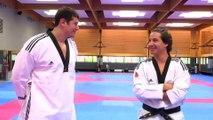 Vincent Parisi Coach l'humoriste Jeremy Ferrari au Taekwondo à L'INSEP avec Mikael Borot Entraineur National.