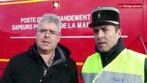Mont-Saint-Michel. Exercice des pompiers à la grande marée