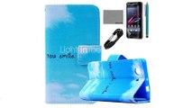 Коко fun голубое небо облако шаблон PU кожаный чехол с пленкой и USB-кабель и стилус для Sony z3 мини