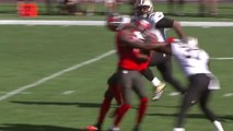 Sims tackled by his own teammate, Tavarres King