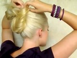 5 minute updo for everyday Top knot messy bun school hairstyles for long straight hair tutorial