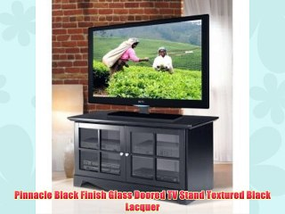 Pinnacle Black Finish Glass Doored TV Stand Textured Black Lacquer