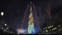 Fireworks at Downtown Dubai on New Years Eve 2015