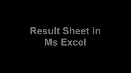 Student Result sheet in Ms Excel