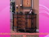 Cherry brown finish wood bombe chest console table with marble top
