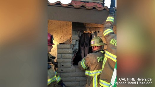 Naked woman gets stuck in exs chimney in California