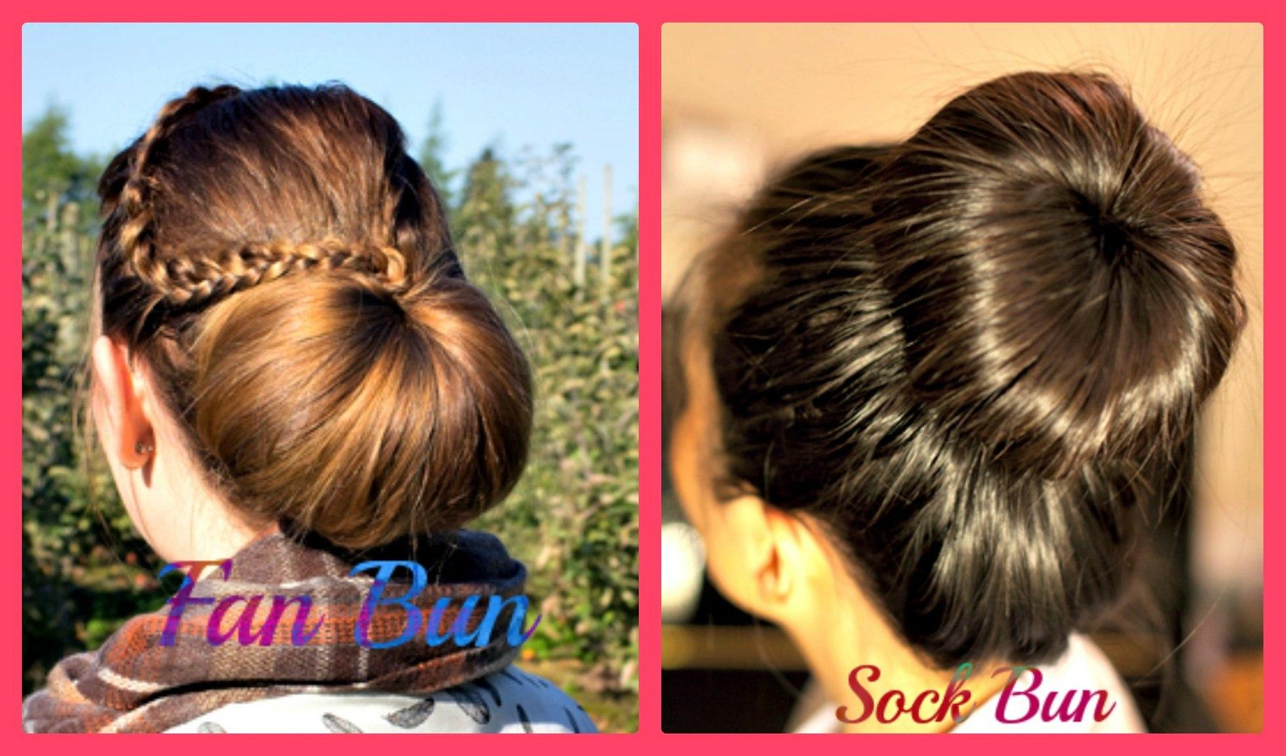 fan and sock bun hair tutorial