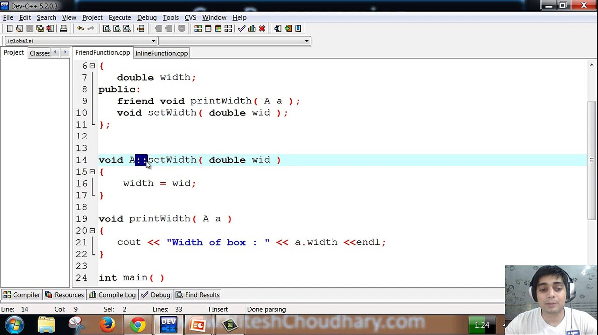 friend and inline function in c++ programming