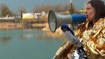 Sarah Venturi, CE QUI SE TROUVE AU LAC DE SAINT CHAMAND, action, Premier championnat de ricochets du Vaucluse de la FMR, Avignon, Lac de Saint Chamand, 23 mars 2012, 17h-20h