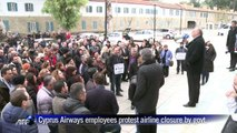 Cyprus Airways employees protest airline closure