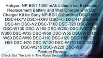 Halcyon NP-BG1 1400 mAh Lithium Ion Extended Replacement Battery and Wall Charger with Car Charger Kit for Sony NP-BG1 CyberShot DSC-HX5V DSC-HX7V DSC-HX9V DSC-H3 DSC-H7 DSC-H9 DSC-N1 DSC-N2 DSC-T100 DSC-T20 DSC-W100 DSC-W130 DSC-W150 DSC-W200 DSC-W30 DSC
