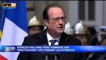 Hommage aux policiers : un discours fort de François Hollande (BFMTV)