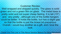 Roman Olive Oil & Vinegar Kitchen Liquid Dispenser Glass Bottles 3pc ~ G32 Green Colored Glass Set of 3 Drop Bottles Style ~ Olive Oil & Vinegar Bottles with Pour Spout and Black Metal Stand ~ Decorative Liquid Dispensers ~ Pourer ~ Drizzler Review