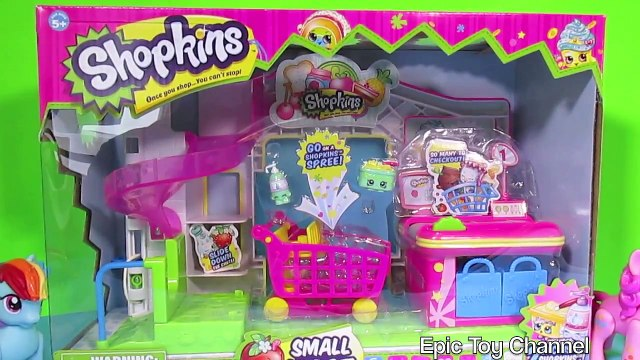 """SHOPKINS """"Small Mart"""" with My Little Pony  2 SHOPKINS Toys Shopkins Play Set Surprise Eggs Parody"""