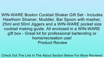 WIN-WARE Boston Cocktail Shaker Gift Set - Includes Hawthorn Strainer, Muddler, Bar Spoon with masher, 25ml and 50ml Jiggers and a WIN-WARE pocket size cocktail making guide. All enclosed in a WIN-WARE gift box - Great kit for professional bartending or h