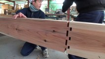 Traditional Japanese Carpenters Contructing wooden Buildings Without Nails