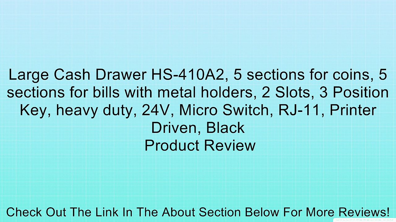 Large Cash Drawer HS-410A2, 5 sections for coins, 5 sections for bills with metal holders, 2 Slots, 3 Position Key, heavy duty, 24V, Micro Switch, RJ-11, Printer Driven, Black Review