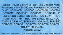 Wasabi Power Battery (2-Pack) and Charger Kit for Panasonic VW-VBK360 and Panasonic HC-V10, HC-V100, HC-V100M, HC-V500, HC-V500M, HC-V700, HC-V700M, HDC-HS60, HDC-HS80, HDC-SD40, HDC-SD60, HDC-SD80, HDC-SD90, HDC-SDX1H, HDC-TM40, HDC-TM41, HDC-TM55, HDC-T