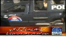Karachi Police Breaking Law Itself - Breaking The Glasses Of Vehicle In Protest