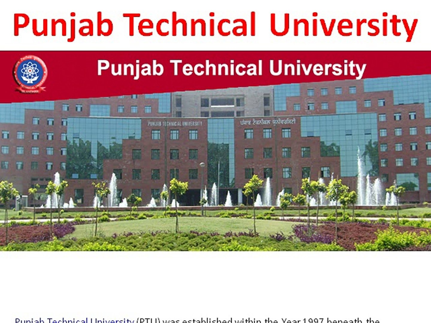 Punjab Technical University Study Center question Papers Result 2015