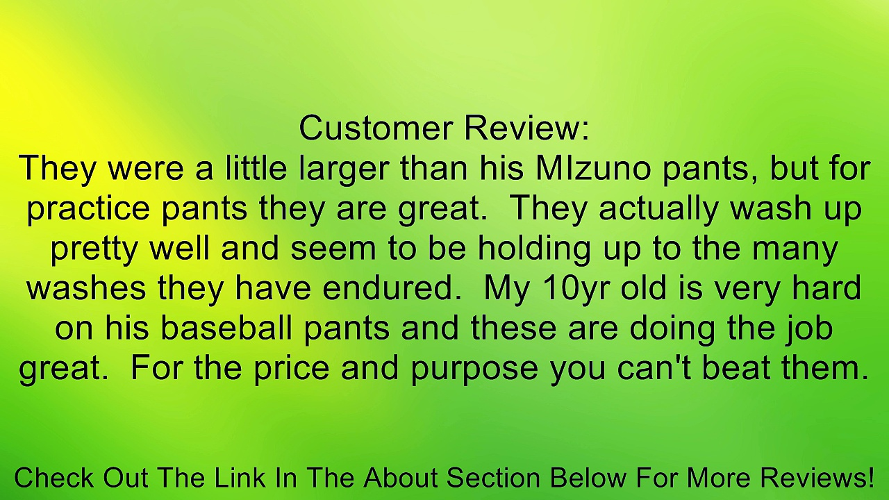 Rawlings Deluxe Baseball Pants Youth / Medium White Review