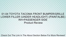 01-04 TOYOTA TACOMA FRONT BUMPER/GRILLE LOWER FILLER (UNDER HEADLIGHT) (PAINTALBE) RH=PASSENGER SIDE Review