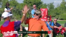 Golfer Miguel Angel Jimenez hits hole in one, does a very sexy dance