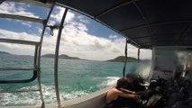 Départ en bateau pour une plongée avec les raies manta