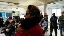Intervention de Silvia Capanema, candidate de Saint-Denis Front de Gauche aux élections départementales dans le canton qui regroupe une partie de Saint-Denis avec Stains. dans une réunion à Stains