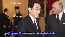 Japanese FM visits memorial for Charlie Hebdo attacks