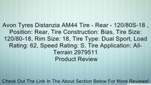 Avon Tyres Distanzia AM44 Tire - Rear - 120/80S-18 , Position: Rear, Tire Construction: Bias, Tire Size: 120/80-18, Rim Size: 18, Tire Type: Dual Sport, Load Rating: 62, Speed Rating: S, Tire Application: All-Terrain 2979511 Review