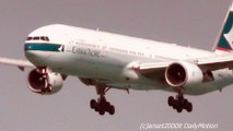 Hong Kong. Cathay Pacific Planes Landing. Boeing 777, 747, Airbus A340. Plane Spotting
