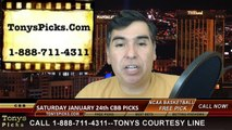 College Basketball Free Picks Saturday Predictions Odds Previews 1-24-2015