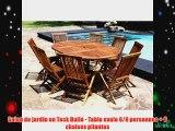 Salon de jardin en Teck Huil? - Table ovale 6/8 personnes   8 chaises pliantes