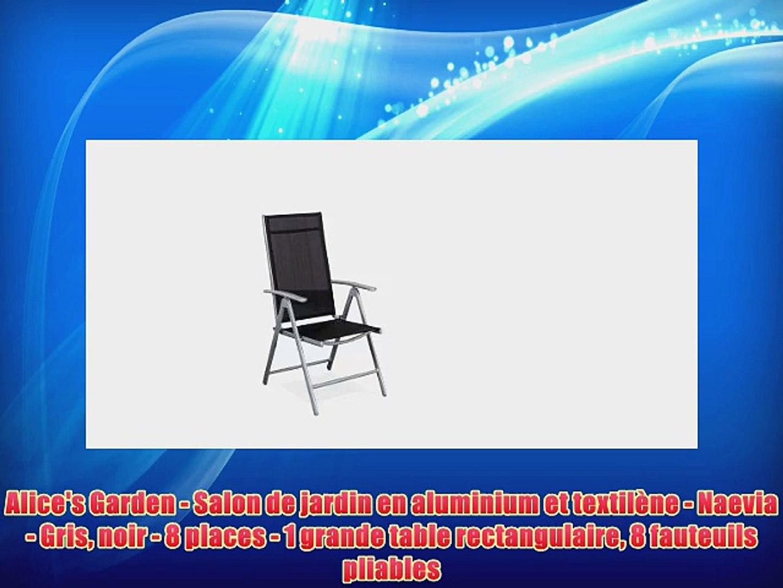 Alice\'s Garden - Salon de jardin en aluminium et textil?ne - Naevia - Gris  noir - 8 places