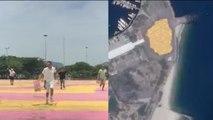 Un street artist fait un Gif visible depuis l'espace
