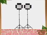 StudioPRO Double CN-1200CHS LED Photography Lighting Panel W/Barndoor and Light Stand Kit Bi-Color