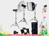 Interfit INT448 Stellar X 600 Watt/Second 3 Head Kit with Softbox Umbrella and B