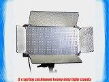 CowboyStudio Three 500 LED Dimmable Lighting Light Panels and Light Stand Kit Daylight Balanced