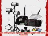 Strobe Studio Flash Light Kit 900W - Photographic Lighting - Strobes Barn Doors Light Stands