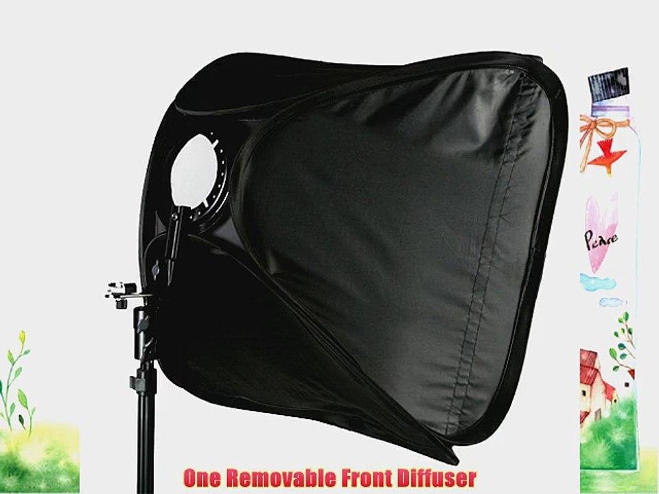 ePhoto 16 off Camera Speedlight Flash Softbox With Cold Hot Shoe Mounting Flash Bracket 16SB1009